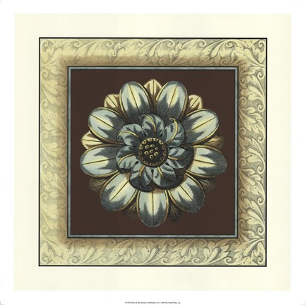 Framed Brown & Blue Rosettes I brown Print