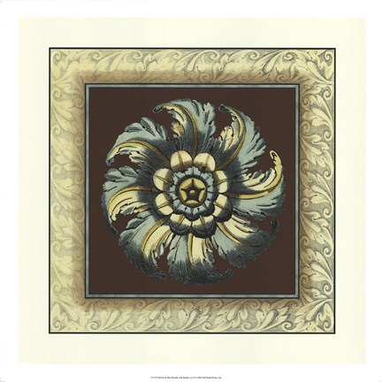 Framed Brown & Blue Rosettes II brown Print