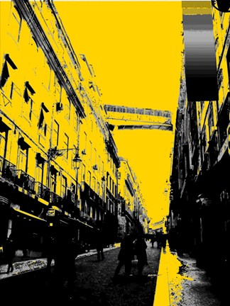 Framed City Street on Yellow Print