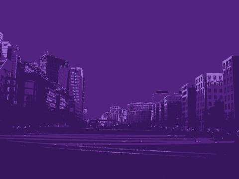 Framed City Block on Purple Print