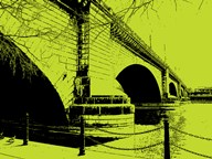 London Bridges on Lime  Fine Art Print