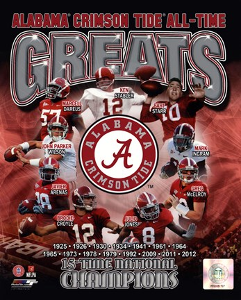 University Of Alabama Crimson Tide All Time Greats