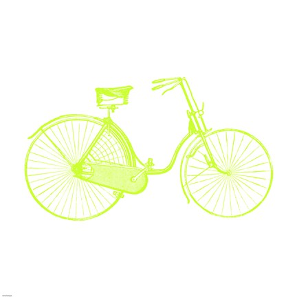 Framed Lime On White Bicycle Print