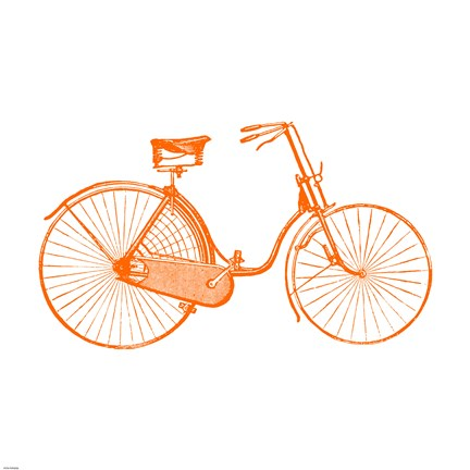 Framed Orange On White Bicycle Print