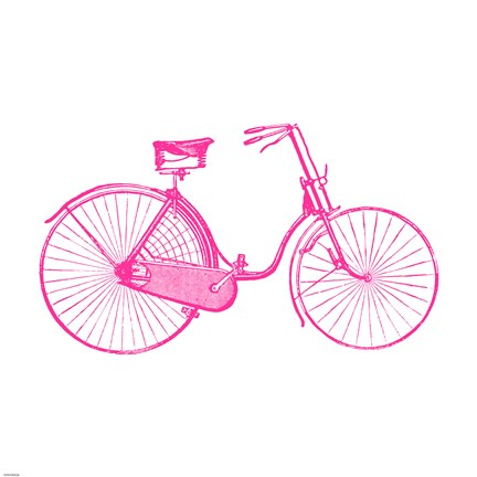 Framed Pink On White Bicycle Print