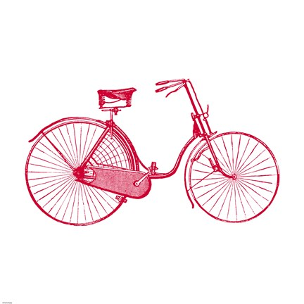 Framed Red on White Bicycle Print