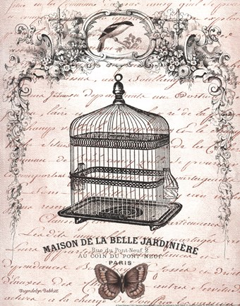 Framed French Birdcage II Print