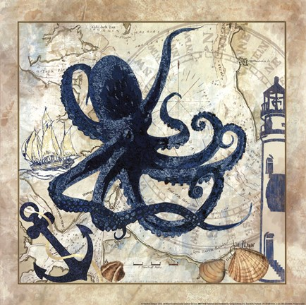 Framed Nautical Octopus Print