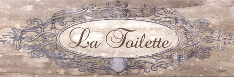 Framed La Toilette Sign - mini Print