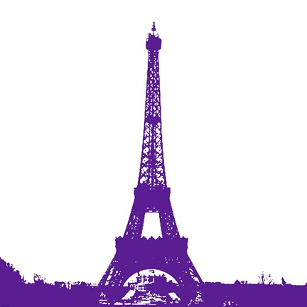 Framed Purple Eiffel Tower Print