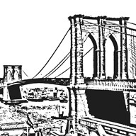 Black Brooklyn Bridge  Fine Art Print