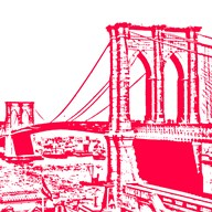 Red Brooklyn Bridge Art