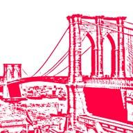 Red Brooklyn Bridge  Fine Art Print