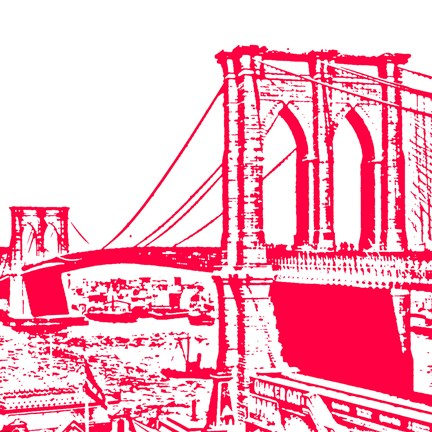 Framed Red Brooklyn Bridge Print