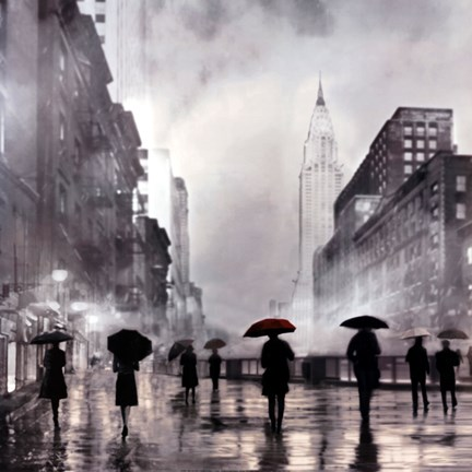 Framed New York Red Umbrella Print