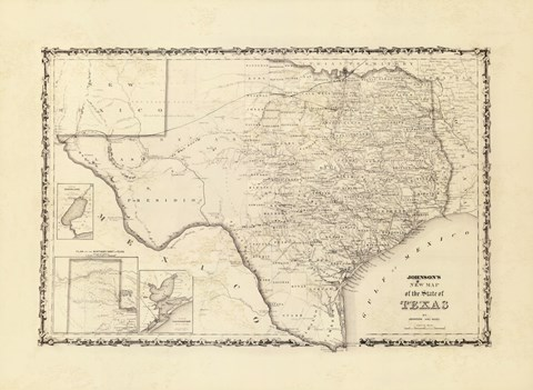 Framed New Map Of The State Of Texas Print