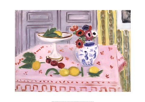 Framed Pink Tablecloth, 1925 Print