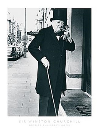 Framed Sir Winston Churchill Outside Claridges Hotel Print