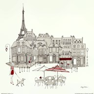 World Cafe II - Paris Red  Fine Art Print