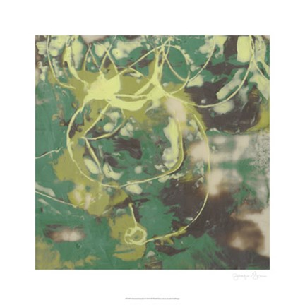 Framed Entwined Emerald I Print