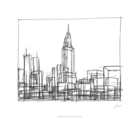Framed Wire Frame Cityscape II Print