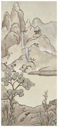 Framed Non-Embellished Chinoiserie Landscape II Print