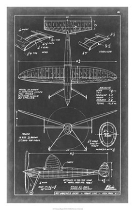 Framed Aeronautic Blueprint III Print