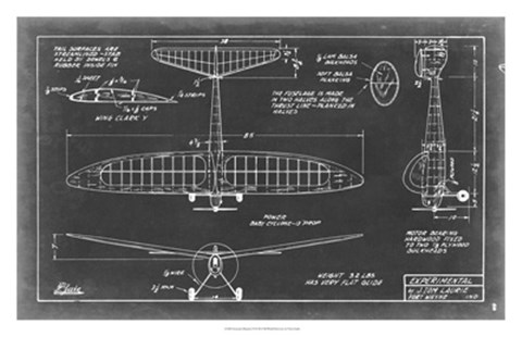 Framed Aeronautic Blueprint VI Print