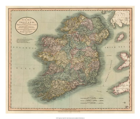 Framed Vintage Map of Ireland Print