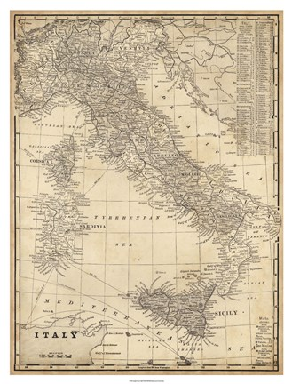 Framed Antique Map of Italy Print