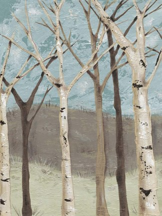 Framed Blue Birches I Print