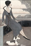 Art Deco Lady With Dog  Fine Art Print
