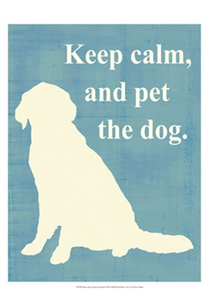 Framed Keep calm and pet the dog Print