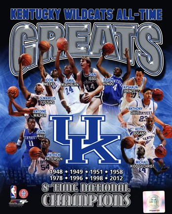 Framed University of Kentucky Wildcats All Time Greats Composite Print