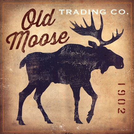 Framed Old Moose Trading Co. Tan Print