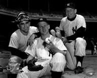 Mickey Mantle, Whitey Ford & Yogi Berra 1956 Posed  Fine Art Print