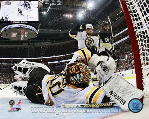 Framed Tuukka Rask 2012-13 Playoff Action Print