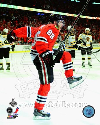 Framed Patrick Kane celebrating second goal Game 5 of the 2013 Stanley Cup Finals Print
