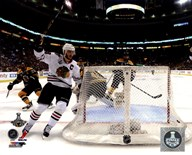 Jonathan Toews goal celebration Game 6 of the 2013 Stanley Cup Finals  Fine Art Print