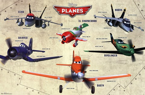 Framed Disney Planes - Group Print