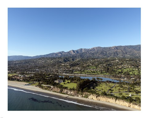 Framed Aerial view Santa Barbara, California Print