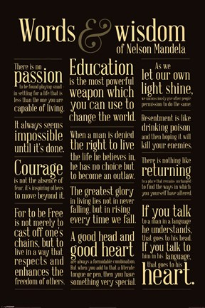 Framed Nelson Mandela - Words of Wisdom Print