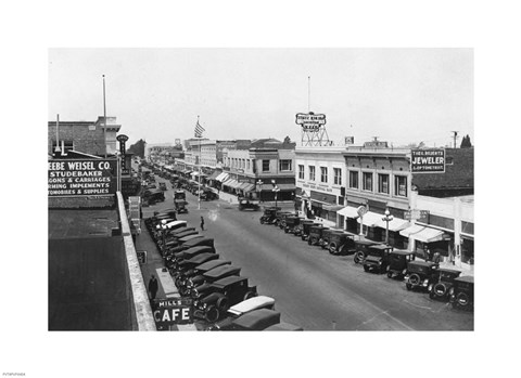Framed Downtown Anaheim 1932 Print