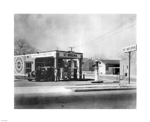 Framed Harlow's Service Station, Anaheim 1930 Print