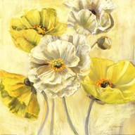 Gold and White Contemporary Poppies I  Fine Art Print