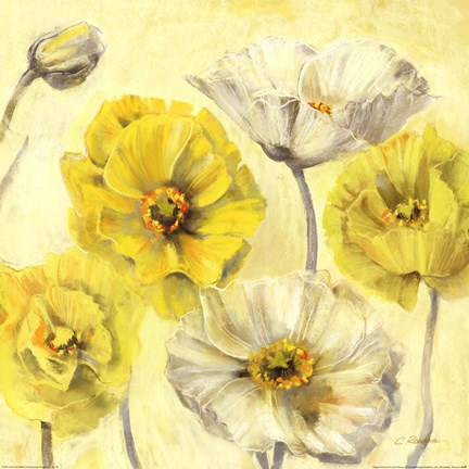 Framed Gold and White Contemporary Poppies II Print