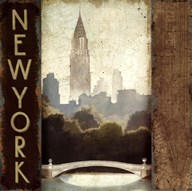 City Skyline New York Vintage Square Art