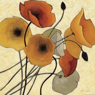 Pumpkin Poppies II  Fine Art Print