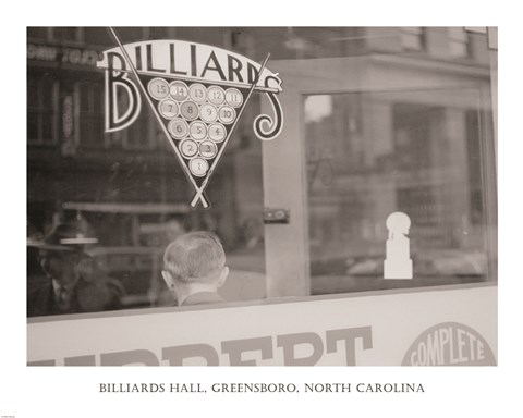 Framed Billiards Hall, Greensboro, North Carolina Print