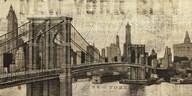 Vintage NY Brooklyn Bridge Skyline  Fine Art Print